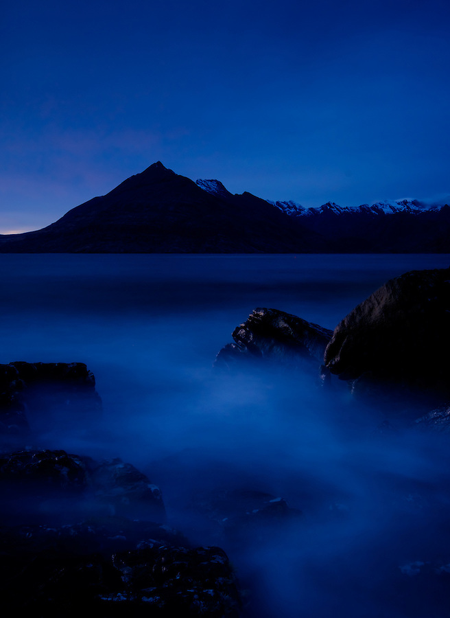 SCOTLAND - CIRCA APRIL 2016: Twilight over Elgol in Skye an Island in Scotland