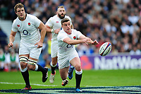 George Ford of England passes the ball. RBS Six Nations match between England and Scotland on March 11, 2017 at Twickenham Stadium in London, England. Photo by: Patrick Khachfe / Onside Images