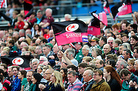 A Saracens fan in the crowd shows his support. Aviva Premiership semi final, between Saracens and Leicester Tigers on May 21, 2016 at Allianz Park in London, England. Photo by: Patrick Khachfe / JMP