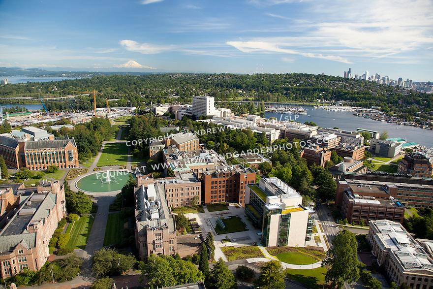 aerial photo looking down University of Washington's Rainier Vista from Drumheller Fountain towards a distant downtown Seattle skyline and Mt. Rainier beyond; Seattle, WA