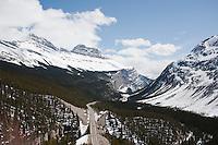 Road to Jasper from Lake Louise. Rockies, Alberta, Canada.