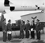 Pittsburgh PA:  US Army General Robert Wood and Staff touring the new radar systems and missiles installed at the Oakdale NIKE site - 1963. The Oakdale site became the command and control center for all the regional NIKE sites after the installation.  <br />