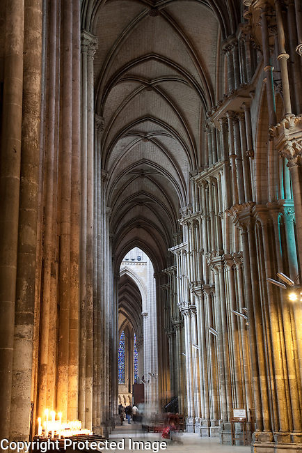 Interior of Rouen Cathedral Church in Normandy, France;
