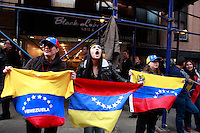 Venezuelan nationals holds a rally in front of the Cuban U.N Mission in New York City. on March 16,2014. A month since mass demonstrations began in Venezuela the country is divided between Chavistas, supporters of President Nicolás Maduro, and anti-government protesters. Photo by Kena Betancur / VIEWpress.
