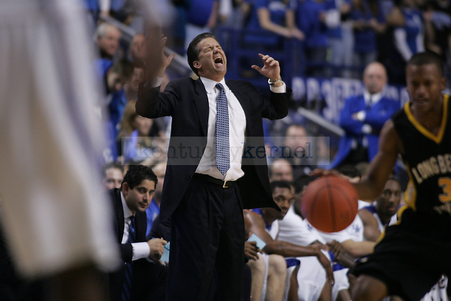 Head coach John Calipari gets upset after Long Beach State stole the ball during the UK men's basketball against Long Beach State at Rupp Arena on Wednesday, Dec. 23, 2009. The Cats won 86-73 over the 49ers. Photo by Adam Wolffbrandt | Staff