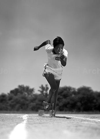 Mary Ella McNab, Sprint champion on Tuskegee Women's Track & Field team. McNab ran 200 m and 400 m relay at the 1952 Olympics in Helsinki. Tuskegee, Alabama, 1952. CREDIT: JOHN G. ZIMMERMAN