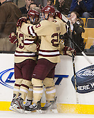 Johnny Gaudreau (BC - 13), Pat Mullane (BC - 11), Patrick Brown (BC - 23) - The Boston College Eagles defeated the Northeastern University Huskies 6-3 on Monday, February 11, 2013, at TD Garden in Boston, Massachusetts.