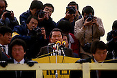 Inchon, South Korea<br /> December 8 1987<br /> <br /> Kim Dea-jong speaking as the opposition leader to the ruling party campaigning during the South Korean presidential elections. <br /> <br /> Kim Dae-jung (3 December 1925 to 18 August 2009) was President of South Korea from 1998 to 2003, and the 2000 Nobel Peace Prize recipient. As of this date Kim is the first and only Nobel laureate to hail from Korea. A Roman Catholic since 1957, he has been called the &quot;Nelson Mandela of Asia&quot; for his long-standing opposition to authoritarian rule.