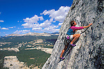 Climber on Fairview Dome, Tuolumne Meadows, Yosemite National Park, California USA