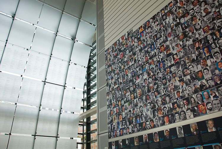 Washington DC; USA: The Newseum, which celebrates the media and its effect on the public.  Newsgathering and its effect on our lives.  Journalist Memorial display honors with their portraits 1,800 journalists who died while gathering the news..Photo copyright Lee Foster Photo # 13-washdc80034