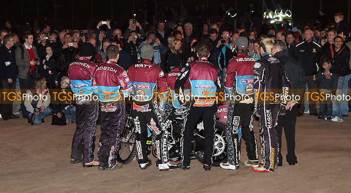 Team photo opportunity for the Hammers fans - Lakeside Hammers Open Evening at the Arena Essex Raceway, Pufleet - 23/03/12 - MANDATORY CREDIT: Rob Newell/TGSPHOTO - Self billing applies where appropriate - 0845 094 6026 - contact@tgsphoto.co.uk - NO UNPAID USE..