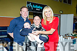 Castleisland Enterprise Town Expo was officially opened by RTÉ broadcaster and Journalist Miriam O'Callaghan on Friday at the Castleisland Community Centre. Pictured l-r Gerald Burns, Julian Twomey and Oisin Burns from Lullaby Milk with Miriam O'Callaghan