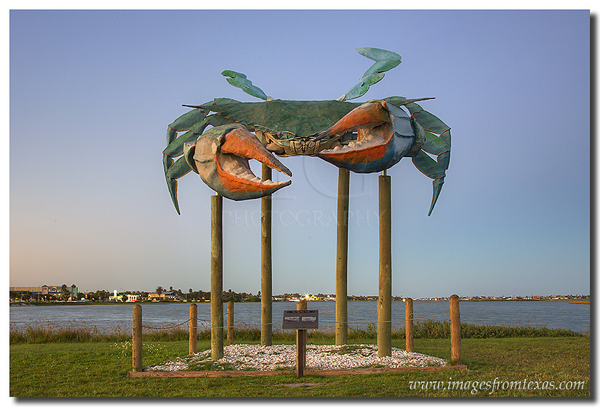 Greeting visitors at the entrace of Rockport Beach is the huge replica of a blue crab seen in this Rockport image. It stands as a tribute to the longtime inhabitants of Rockport, Texas.