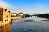 Vltava river view from Charles bridge in Prague