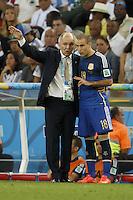Argentina manager Alejandro Sabella and Rodrigo Palacio