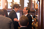 Immediately after congratulating incoming Senate Majority President John Cullerton, D-Chicago, right, Gov. Rod Blagojevich abruptly left out the back door of the Illinois State Capitol senate chamber after the Senate inauguration ceremony in Springfield, Ill., Wednesday, January 14, 2009. The previous week the Illinois House voted to impeach Blagojevich, and the first business of the new Senate was to move forward with the impeachment..Kristen Schmid Schurter