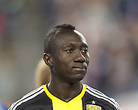 Columbus Crew forward Dominic Oduro (11). In a Major League Soccer (MLS) match, the New England Revolution (blue) defeated Columbus Crew (white), 3-2, at Gillette Stadium on October 19, 2013.