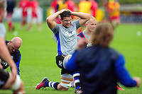 Charlie Ewels of Bath Rugby looks on during the pre-match warm-up. Pre-season friendly match, between the Scarlets and Bath Rugby on August 20, 2016 at Eirias Park in Colwyn Bay, Wales. Photo by: Patrick Khachfe / Onside Images