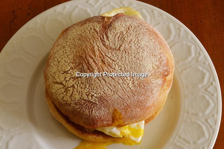 Stock photo of fried egg sandwich