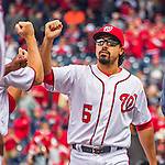 7 April 2016: Washington Nationals infielder Anthony Rendon greets teammates as he is introduced on the field prior to the Nationals' Home Opening Game against the Miami Marlins at Nationals Park in Washington, DC. The Marlins defeated the Nationals 6-4 in their first meeting of the 2016 MLB season. Mandatory Credit: Ed Wolfstein Photo *** RAW (NEF) Image File Available ***