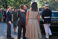 US President Barack Obama (2L), First Lady Michelle Obama (R) greet Italian Prime Minister Matteo Renzi (2R) and Italian First Lady Agnese Landini (L) as they arrive to an official arrival ceremony on the South Lawn of the White House in Washington DC, USA, 18 October 2016. Later today President Obama and First Lady Michelle Obama will host their final state dinner featuring celebrity chef Mario Batali and singer Gwen Stefani performing after dinner. <br /> Credit: Shawn Thew / Pool via CNP /MediaPunch