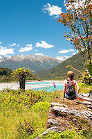 Female hiker in Whataroa Valley, South Westland, West Coast, New Zealand, MR