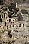 South America, Peru, Machu Picchu. Stone ruins of the citadel.