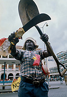 November 1975, Luanda, Angola --- Supporter of the The Popular Movement for the Liberation of Angola (MPLA) in Luanda. Upon independence from Portugal in 1975, Luanda and nominal government came under the one-party rule of MPLA. --- Image by © JP Laffont