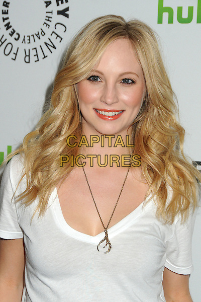 """Candice Accola.PaleyFest 2012 Presents """"The Vampire Diaries"""" held at the Saban Theatre. Beverly Hills, California, USA, .10th March 2012.portrait headshot white t-shirt smiling gold necklace .CAP/ADM/BP.©Byron Purvis/AdMedia/Capital Pictures."""