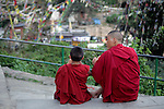 Asia, Nepal, Kathmandu. Monks and a view.