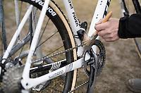 Lars van der Haar's (NED/Telenet-Fidea) bike cleaned/brushed off in the pits mid-race<br /> <br /> Elite Men's race<br /> CX Superprestige Noordzeecross <br /> Middelkerke / Belgium 2017