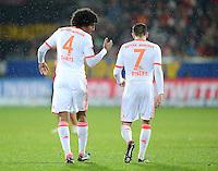 FUSSBALL   1. BUNDESLIGA   SAISON 2012/2013  15. SPIELTAG     SC Freiburg - FC Bayern Muenchen      28.11.2012 Dante und Franck Ribery (v. li., FC Bayern Muenchen)