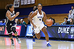 15 November 2016: Duke's Lexie Brown (4) and Longwood's Micaela Ellis (10). The Duke University Blue Devils hosted the Longwood University Lancers at Cameron Indoor Stadium in Durham, North Carolina in a 2016-17 NCAA Division I Women's Basketball game. Duke won the game 105-48.