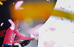 Bob Jungels (LUX) Quick-Step Floors retains the race leaders Maglia Rosa at the end of Stage 6 of the 100th edition of the Giro d'Italia 2017, running 217km from Reggio Calabria to Terme Luigiane, Italy. 11th May 2017.<br /> Picture: LaPresse/Simone Spada   Cyclefile<br /> <br /> <br /> All photos usage must carry mandatory copyright credit (&copy; Cyclefile   LaPresse/Simone Spada)