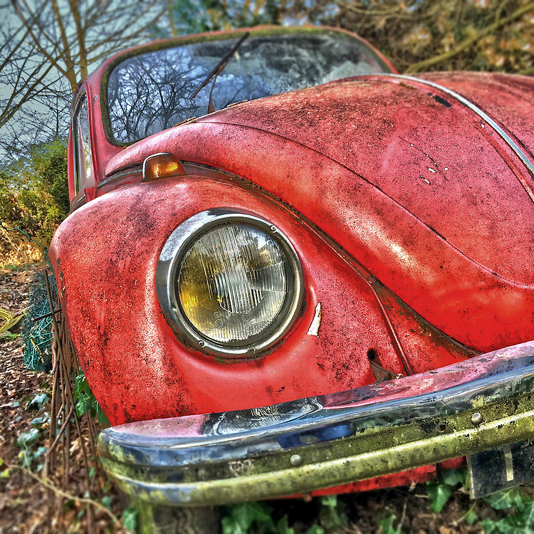 Retro vintage red VW automobile