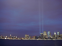 9/11 Tribute Lights.  Site of the former World Trade Center.
