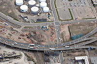 """Early Eastbound Approach Construction, Pearl Harbor Memorial """"Q"""" Bridge, just east of Interstate I-95 I-91 CT Route 34 Interchanges. Surface roads Water Street left to right & East Street top to bottom. Details of approaches, overpasses, ramps & roadway near or within I-95 New Haven Harbor Crossing Corridor projects confines. Photography taken at the beginning of Contract B1 & E1"""
