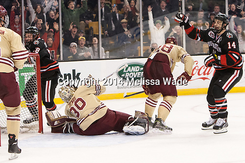 John Stevens (NU - 18) and Braden Pimm (NU - 14) celebrate Stevens' goal which tied the game at 1. - The Boston College Eagles defeated the Northeastern University Huskies 4-1 (EN) on Monday, February 10, 2014, in the 2014 Beanpot Championship game at TD Garden in Boston, Massachusetts.