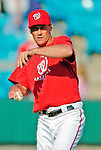 8 March 2006: Randy St. Claire, pitching coach for the Washington Nationals, tosses a ball after a Spring Training game against the St. Louis Cardinals. The Cardinals defeated the Nationals 7-4 in 10 innings at Space Coast Stadium, in Viera, Florida...Mandatory Photo Credit: Ed Wolfstein.