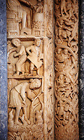 Romaesque doorway with sculptures of workers by the Croatian architect Master Radovan. Saint Lawrence Cathedral - Trogir - Croatia