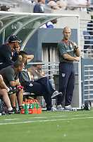 Bob Bradley watches from the sideline. USA defeated Grenada 4-0 during the First Round of the 2009 CONCACAF Gold Cup at Qwest Field in Seattle, Washington on July 4, 2009.