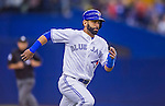 4 April 2015: Toronto Blue Jays outfielder Jose Bautista in action against the Cincinnati Reds at Olympic Stadium in Montreal, Quebec, Canada. The Blue Jays defeated the Reds 9-1 in the second of two MLB weekend exhibition games. The series marked the first time since 2004 that the Reds played at Olympic Stadium, during the last season of the Montreal Expos. Mandatory Credit: Ed Wolfstein Photo *** RAW (NEF) Image File Available ***