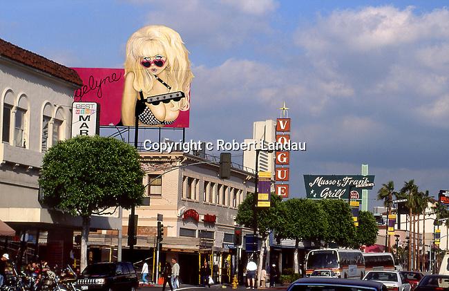 Holywood Boulevard with Angelyne billboard circa 1990s