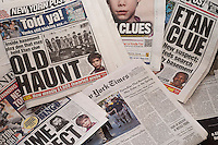 Headlines of newspapers in New York report on the recent investigation in Soho on the case of the missing child, Etan Patz.  Patz disappeared in 1979 and acting on a tip the FBI was digging in the basement of 127B Prince Street in Soho looking for forensic evidence. (© Richard B. Levine)