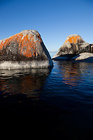 """Boulders on Lake Tahoe 19"" - These orange, black, and grey boulders were photographed in the early morning near Speedboat Beach, Lake Tahoe."