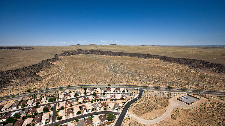 Residential development Petroglyphs 4 extinct volcanos west of Albuquerque New Mexico helicopter aerial