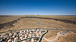 Residential development Petroglyphs 4 extinct volcanos west of Albuquerque New Mexico helicopter aerial