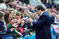 Marcos Ayerza of Leicester Tigers signs autographs for supporters on the occasion of his final home appearance for the club. Aviva Premiership match, between Leicester Tigers and Sale Sharks on April 29, 2017 at Welford Road in Leicester, England. Photo by: Patrick Khachfe / JMP