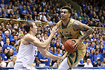 16 January 2016: Notre Dame's Zach Auguste (30) and Duke's Luke Kennard (5). The Duke University Blue Devils hosted the University of Notre Dame Fighting Irish at Cameron Indoor Stadium in Durham, North Carolina in a 2015-16 NCAA Division I Men's Basketball game. Notre Dame won the game 95-91.