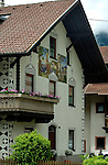 Religious image mural painted on to exterior of house. Village of Nassereith, Imst district, Austria.